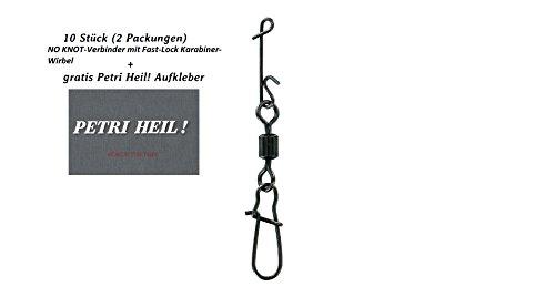 Jenzi Set: 2 Packungen (insgesamt 10 Wirbelkarabiner) Knotenlosverbinder mit Wirbel brüniert Gr.10 14kg + gratis Petri Heil! Aufkleber
