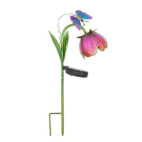 MOOVGTP Luz solar de estaca de jardín, luz de camino de flor de loto con mariposa decorativa paisaje lámpara de césped para jardín patio patio camino
