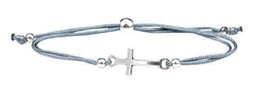 Milosa Konfirmations Armband Kreuz Kinder Armband Textil Band Grau Größenverstellbar, Armband Geschenk Firmung Kommunion