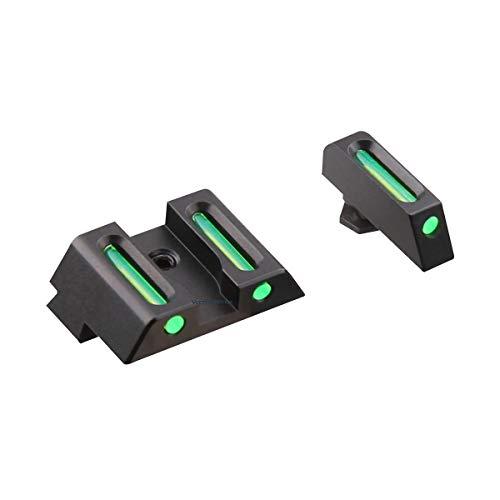 Hygoo Green Fiber Optic Front and Rear Handgun Sights Compatible with Glock Standard Models Pistols