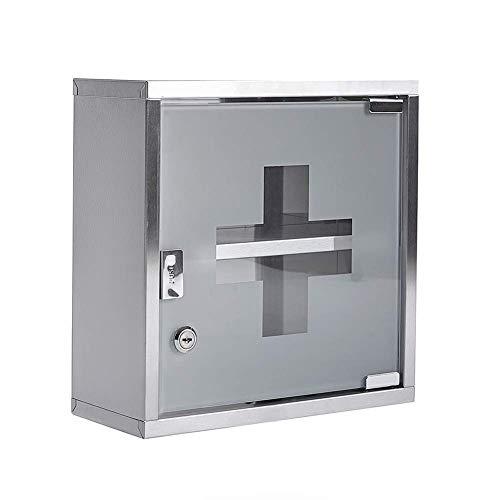 CXD Medicine kast met planken, wandgemonteerde medicijndoos uit medicijnkastje EHBO-kast Me afsluitbaar medicijnkastje met glazen deur