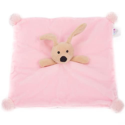 INCA. Dou dou bebé. Mantita de apego bebé. Extra de suavidad. Peluche de Perrito. Disponible en Color Rosa. Medida del doudou Manta 16 cm x 16 cm x 6 cm