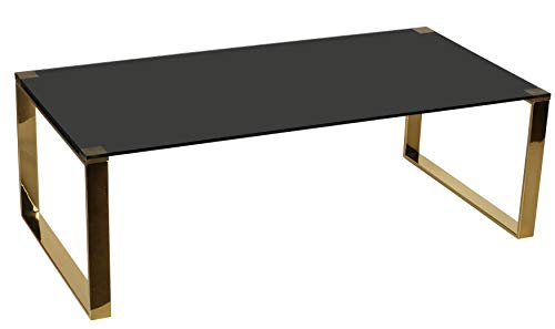 Cortesi Home Remini Coffee Table, Gold Metal and Black Glass, Coffee Table 47, CH-CT646184