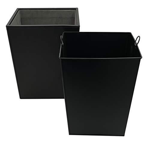 Abfalleimer aus Kunstleder mit Metalleinsatz   10 Liter   Mülleimer in edler Optik für Küche, Büro und Bad   eckig (schwarz)