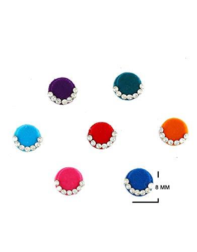Anuradha Art Jewellery Multi Colour Bindis For Ladies Wedding Round Bindi