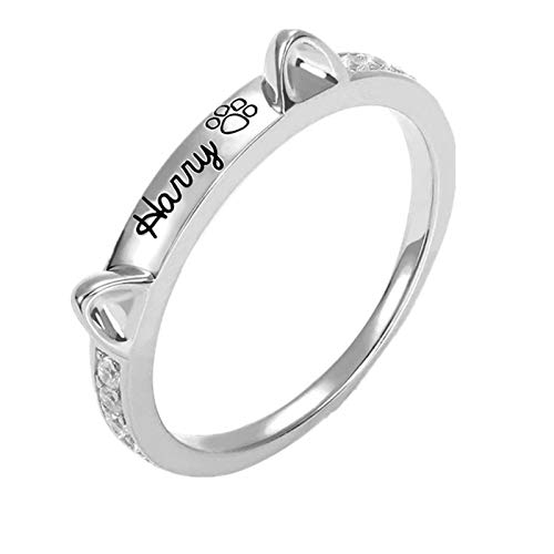 Personalized Cat Ears Name Ring Sterling Silver 925 Pet Ring with Paw Print Pet Cat Lover Gifts for Women Men(6.5)