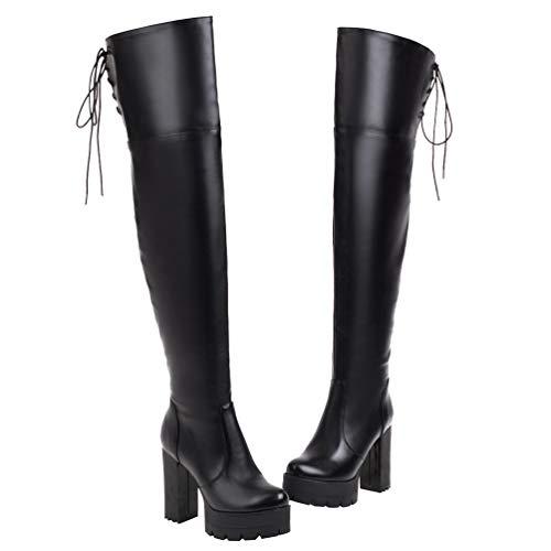 PIXIEFOOT Damen Langschaft Overknee Stiefel High Heel Plateau Blockabsatz Thigh Boots mit Schnürung Hinten und Reisverschluss