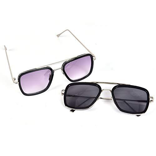 JIAOAO 2 gafas de sol polarizadas rectangulares de aviador para hombre – estilo militar piloto de metal