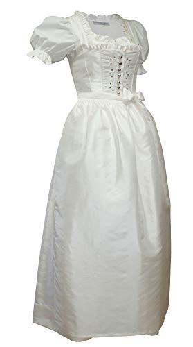 Hochzeitskleid Dirndl Brautkleid mit Bluse Brautdirndl Braut-Dirndl Hochzeit Kleid Champagner Creme-Weiss Swarovski-Elements Schürze edler TAFT Made in Austria, Größe:42