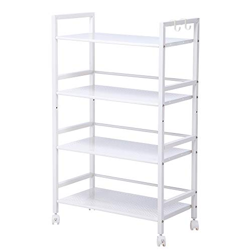 SINGAYE 4 Shelf Metal Rolling Utility Cart with Wheels Square Tube,White