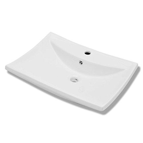 Festnight Luxuri?ses Rechteckig Keramik Waschbecken Waschschale Keramikwaschbecken Wei? 60x44cm Becken mit ?berlauf für Badezimmer Waschraum