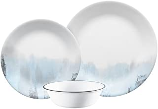 Corelle Vitrelle Tranquil Reflections Dinnerware Set of 12 Pieces, White