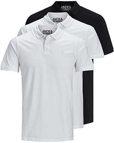 JACK & JONES 3er Pack Herren Poloshirt Slim Fit Kurzarm schwarz weiß blau grau XS S M L XL XXL 12171776 (3er Pack Farb Mix 2, L)