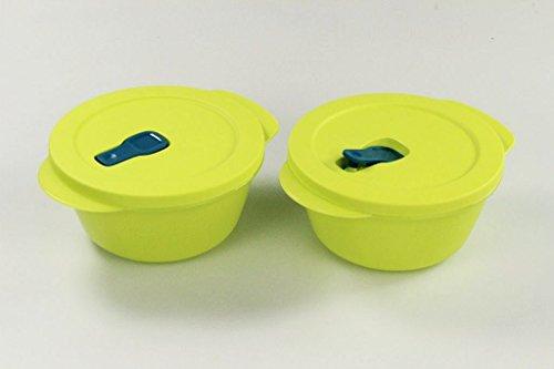 """Tupperware - Set da 2 contenitori per microonde """"CrystalWave"""", 26472, colore: giallo limone, da 800ml, contenitori Pop-Plus Fix per microonde"""