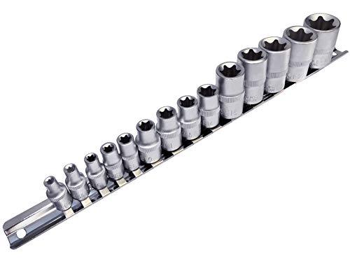 AERZETIX - Juego de 14 vasos de atornillado - estrella hembra E4-E24 - para llave de carraca 1/4' 3/8' 1/2' - en Cr-V - C47115