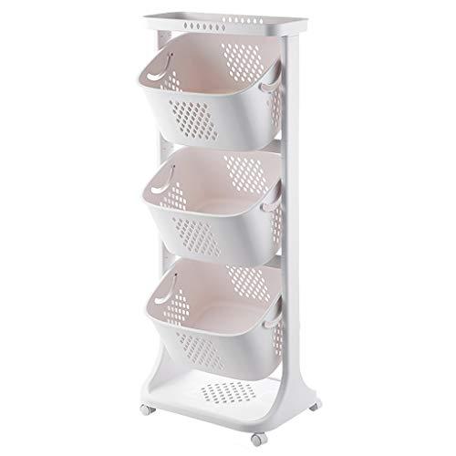 Waskorf 3-laags wasmand opslagmand, PP wasmand op wieltjes, Mobile Storage Basket
