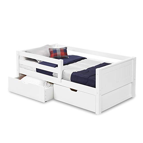 Camaflexi Panel Style Solid Wood Daybed with Drawers and Front Rail Guard, Twin, White