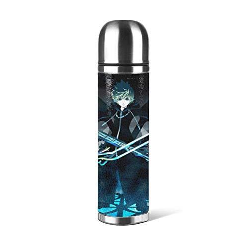 haoqianyanbaihuodian Kingdom Hearts Stainl Botella de acero de doble pared aislada al vacío taza de viaje con taza de piel sintética resistente a la corrosión, sin olor, sin manchas, sin sabor