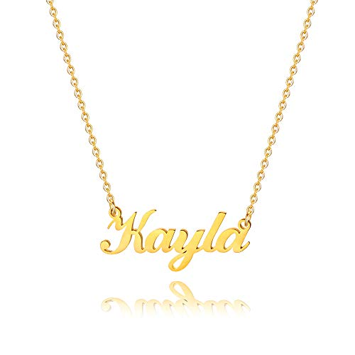 M MOOHAM Personalized Kayla Name Necklace - 18K Gold Filled Custom Name Necklace Personalized Name Necklaces for Women Girls Kids, Monogram Plate Name Necklace Name Jewelry