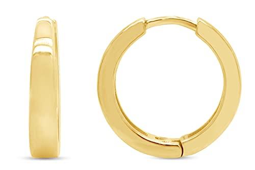Pendientes de aro pequeños para mujer de plata de ley 925 chapados en oro de 18 quilates,