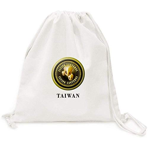 Logo Taiwan Farolillos voladores Lienzo Cordón Mochila Viaje Bolsas de Compras 36X43CM