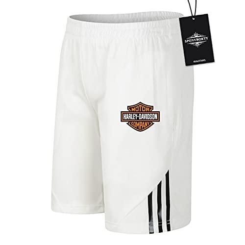 CONVERMPU de Los Hombres Sudor Corto Verano H.a.r_l.e.y Pantalones Cortos Algodón Corto Baloncesto Trotar Traje Causal/Blanco/L