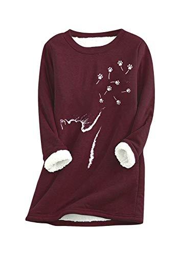 YMING Suéter de felpa caliente de las señoras de la sudadera de cuello redondo suéter de la manga larga del peluche, Gato Paw Burdeos, S
