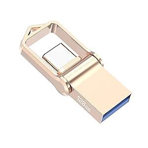 KEXIN Memoria USB 128GB 3.0 Tipo C Pendrive USB Metal Impermeable a Prueba de Golpes Llave Pendrive USB 2 en 1 Memory Stick U Disco OTG Flash para Samsung/Huawei/Macbook Pro PC [Dorado]