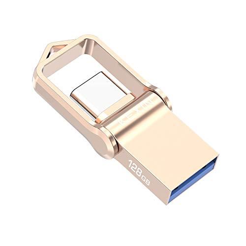 KEXIN Chiavetta USB 128GB 3.0 USB Tipo C OTG Memoria 2-in-1 USB Pendrive Flash Drive Type C con Portachiavi Metallo Pennette USB Stick per MacBook/Google/Samsung/Huawei/Tablet Oro