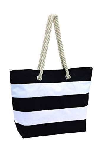 Topico Strandtasche Sylt, schwarz/weiß, ca. 47 x 17 x 34cm (bxtxh)
