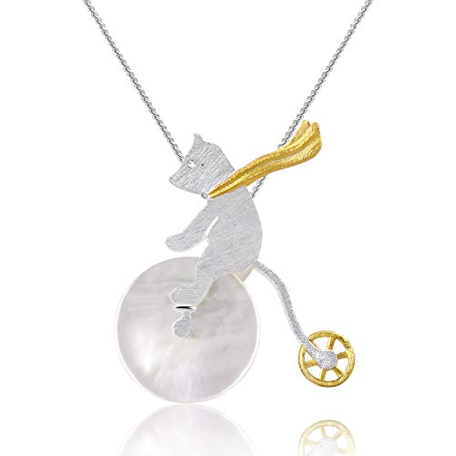 Lotus Fun S925 Sterling Silber Anhänger Kreativer origineller Anhänger für Frauen und Mädchen Kreativ Beliebt Natürlicher Peridot Handgemachter Einzigartiger Schmuck (Bicycle Riding Bear)