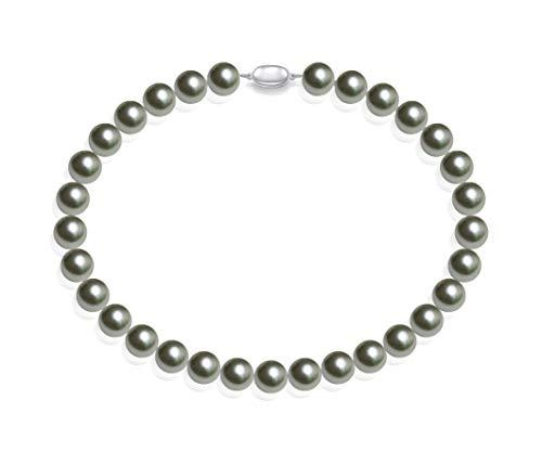 Schmuckwilli Damen Muschelkernperlen Perlenkette aus echter Muschel silber grau 45cm 14mm mk14mm096-45