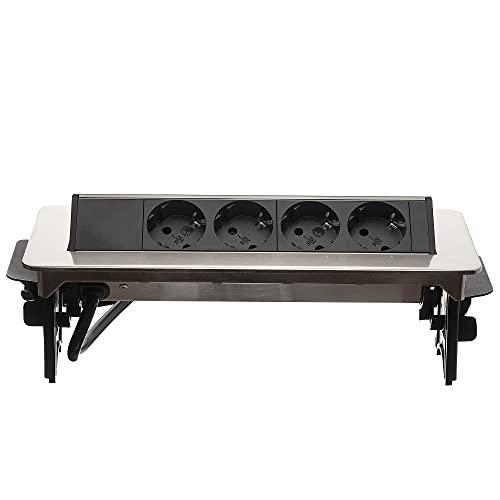 Möbel-Steckdose 4-fach silber für Büro oder Küche - Einbausteckdose versenkbar 2m Kabel Mehrfachsteckdose als Tischsteckdose - Steckdosenleiste