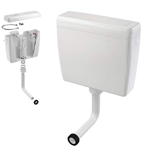 Bad Aufputz 6-9L Wasserspülkasten mit Stop/Spartaste, WC-Spülkasten, Spülkasten in Weiß - inkl. Montagematerial