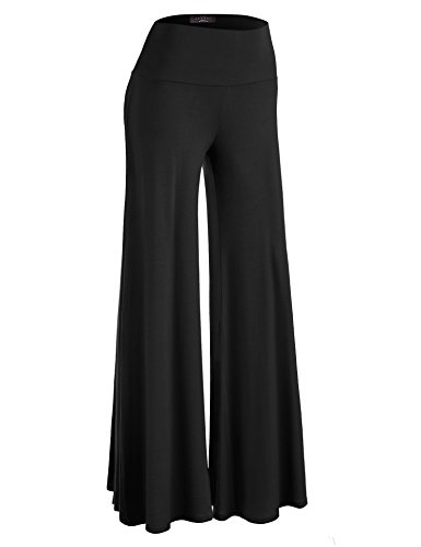Made By Johnny WB750 Womens Chic Palazzo Lounge Pants L Black