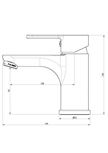 EISL NI075DINBCR Diziani – Grifo monomando para lavabo, color negro mate y cromado