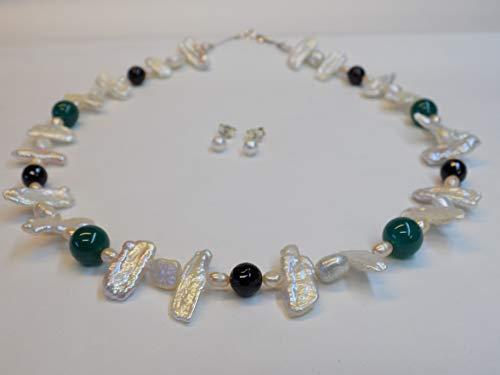collana e orecchini con Onice E Giada perle di fiume Argento 925
