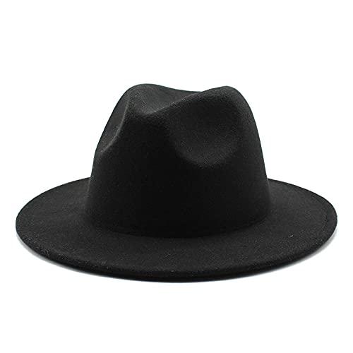 maozuzyy Fedora Trilby Sombrero Fedora Turbante Retro para Hombres Y Mujeres Multicolor-Black_Size_56-58Cm