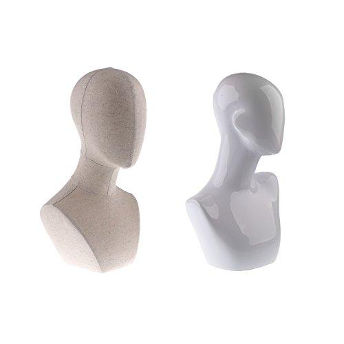 Sharplace 2pcs Présentoir Support en lin ou plastique pour Bijoux perruque chapeaux Forme de Tete de Mannequin 18 pouces/19,7 pouces