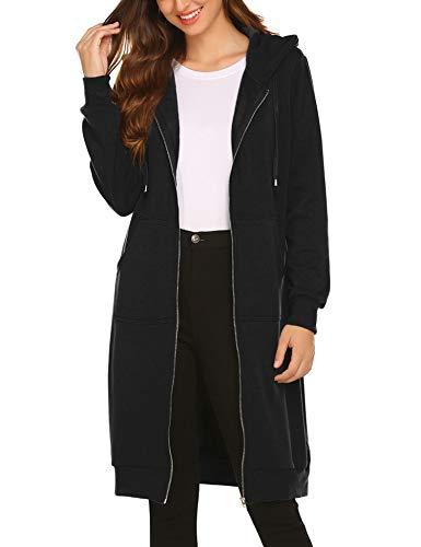 Elesol Womens Casual Zip up Hoodies Long Fleece Tunic Sweatshirts Jackets Cardigan Sweaters with Pockets, Black Small