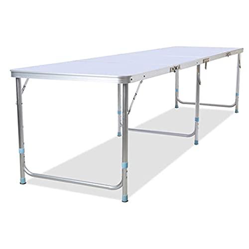 Vikbord utomhus i aluminiumlegering 2,4 M superlångt picknickbord, Bärbart lätt camping strandparty matbord, Höjdjusterbart terrass trädgårdsspelbord, Kommersiell utställningsbord Workbe