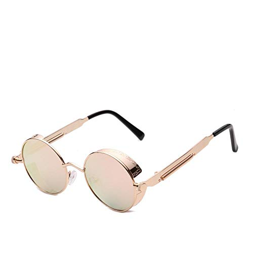 HAOMAO Gafas de Sol con Revestimiento de Espejo Steampunk para Mujer Gafas con Monturametálica Rosa