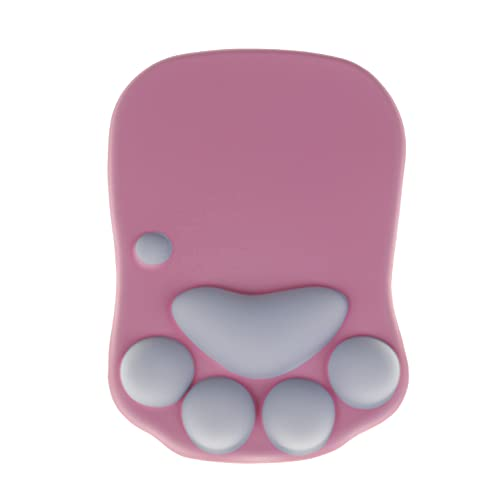 Cute Cat Claw Paw Mouse Pad with Gel Wrist Rest Support - Soft Silicon Ergonomic Computer Mouse Pads - Women/Kids Mouse Mat Desk Accessories (Pink/Grey)