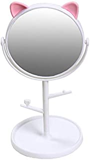 Makeup Mirror Cat ears Cosmetic Mirror Operated Stand for Tabletop Bathroom Travel