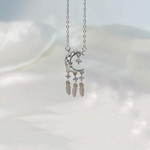 jinyi2016SHOP Collar de Inspiración Luna Colector Ideal clavícula Cadena de la joyería Collar de Plata Mujer Largo Borla Salvaje de la Pluma S925 Exquisita Decoración para Mujeres y Niñas