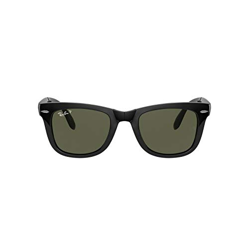 Ray-Ban RB4105 Wayfarer Gafas de sol plegables, no polarizadas, 50 mm negro Frame Black Lens Polarized Green Classic G-15