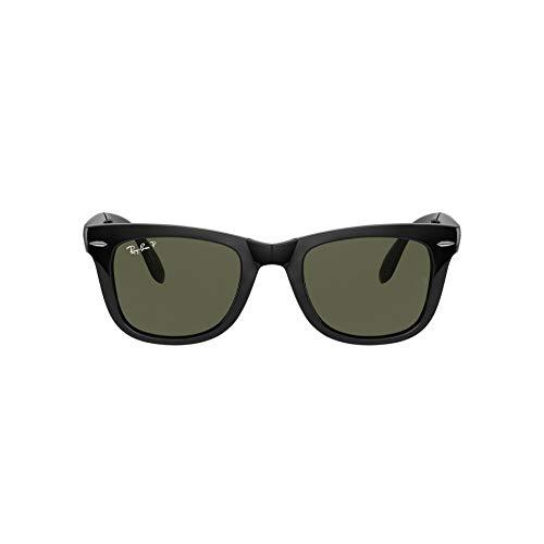 Ray-Ban RB4105Wayfarer Gafas de sol plegables, no polarizadas, 50mm negro Frame Black Lens Polarized Green Classic G-15