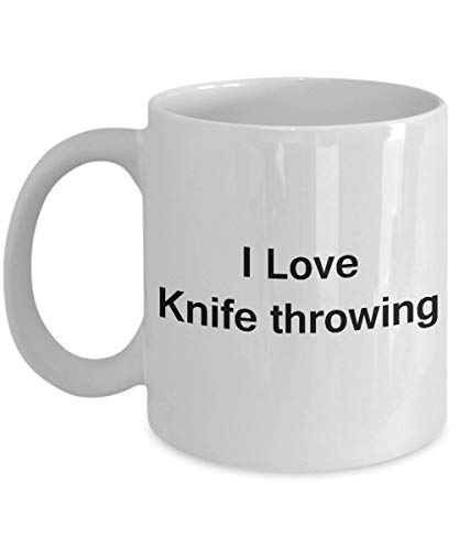I love knife throwing - valentines gifts - porcelain white funny coffee mug, best office tea mug coffee cup gifts 11 oz