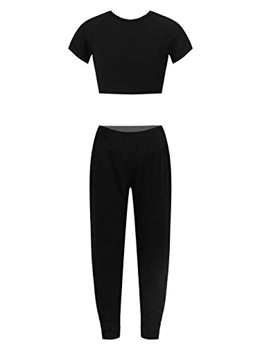 MSemis Teenager Mädchen Jogginganzug Trainingsanzug Sportanzug Jogger Crop Top Sport Weste mit Leggings Streetwear für Tanz Yoga Jogging Az Schwarz 158-164