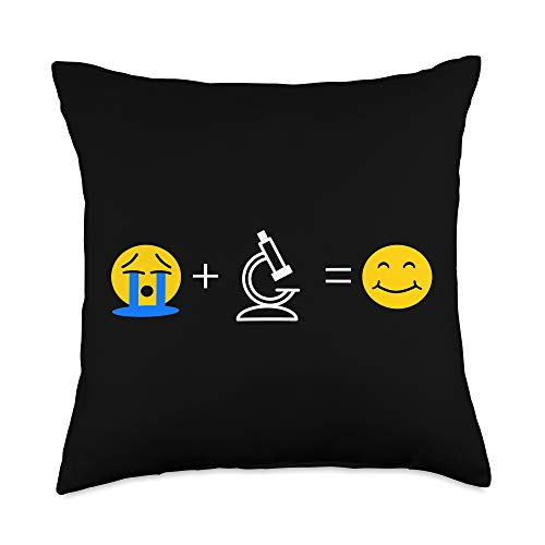 Laboratory Lover Gifts Lab Science Emoji Funny Microscope Makes ma Happy Throw Pillow, 18x18, Multicolor